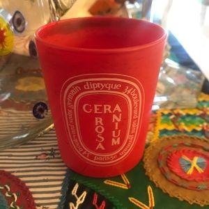 Diptyque geranium Rosa candle pot empty EUC 6.5 oz